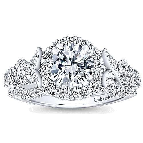 Corinthia 14k White Gold Round Halo Engagement Ring angle 4