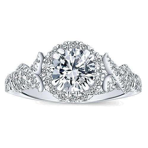 Corinthia 14k White Gold Round Halo Engagement Ring angle 5