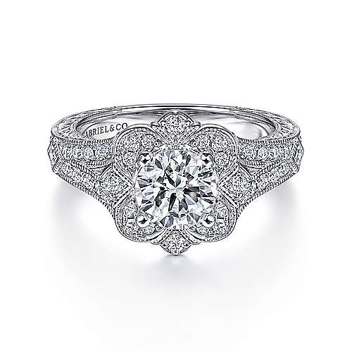 Gabriel - Cornelia 14k White Gold Round Halo Engagement Ring