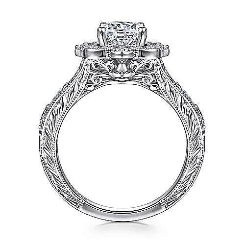 Cornelia 14k White Gold Round Halo Engagement Ring angle 2