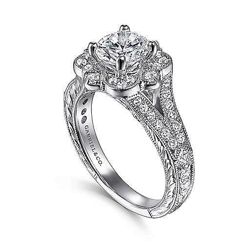 Cornelia 14k White Gold Round Halo Engagement Ring angle 3