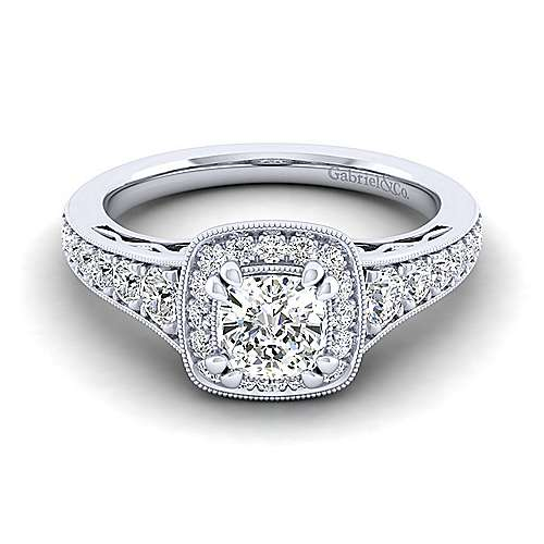Gabriel - Cortlandt 14k White Gold Cushion Cut Halo Engagement Ring