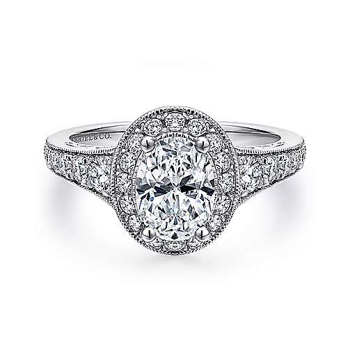 Gabriel - Cortlandt 14k White Gold Oval Halo Engagement Ring