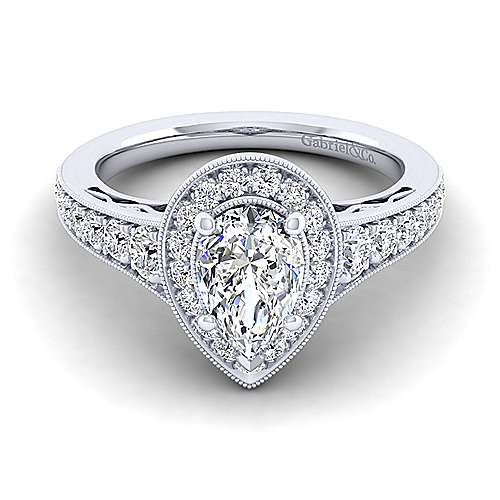 Gabriel - Cortlandt 14k White Gold Pear Shape Halo Engagement Ring
