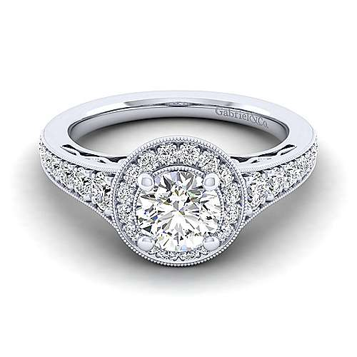 Gabriel - Cortlandt 14k White Gold Round Halo Engagement Ring