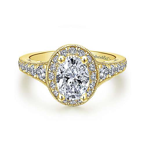 Gabriel - Cortlandt 14k Yellow Gold Oval Halo Engagement Ring