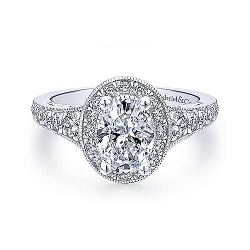 Gabriel - Cortlandt 18k White Gold Oval Halo Engagement Ring