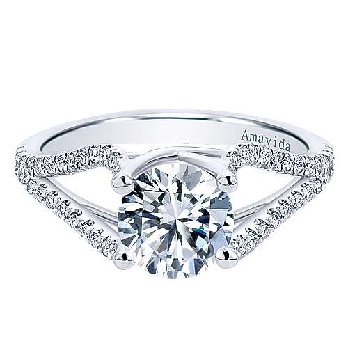 Gabriel - Cosmic 18k White Gold Round Split Shank Engagement Ring