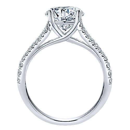 Cosmic 18k White Gold Round Split Shank Engagement Ring angle 2