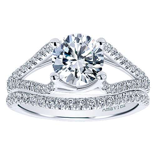 Cosmic 18k White Gold Round Split Shank Engagement Ring angle 4