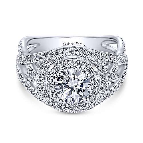 Gabriel - Cosmina 14k White Gold Round Double Halo Engagement Ring