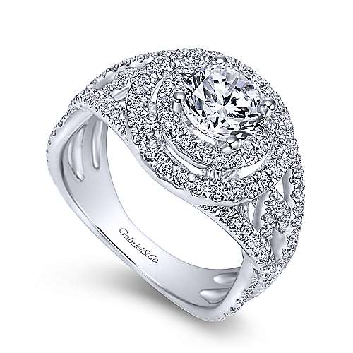 Cosmina 14k White Gold Round Double Halo Engagement Ring angle 3