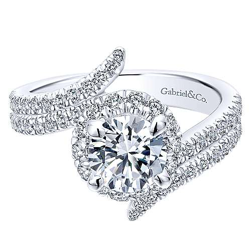 Cosmo 14k White Gold Round Halo Engagement Ring angle 1