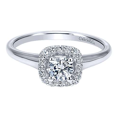 Courage 14k White Gold Round Halo Engagement Ring angle 1