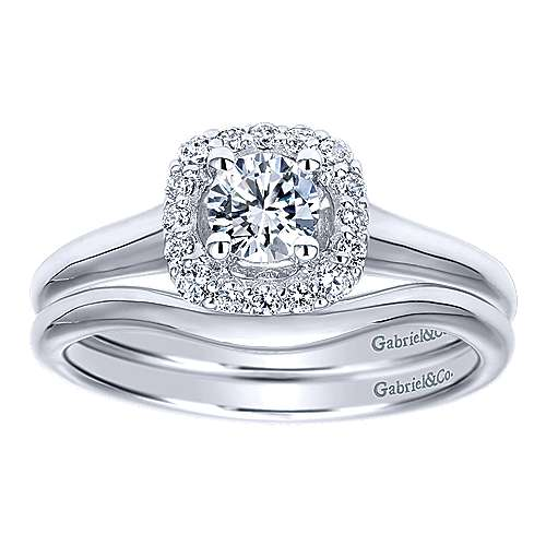 Courage 14k White Gold Round Halo Engagement Ring angle 4
