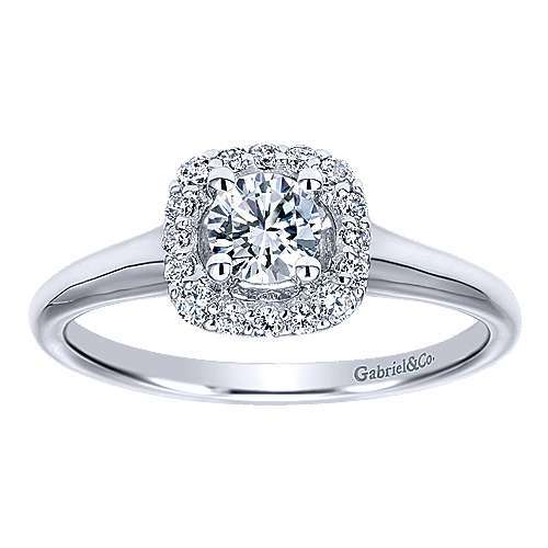Courage 14k White Gold Round Halo Engagement Ring angle 5
