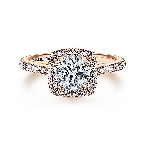 Gabriel - Courtney 14k Rose Gold Round Halo Engagement Ring