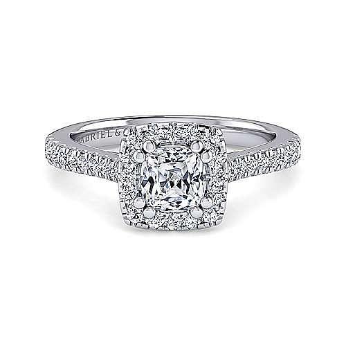 Gabriel - Courtney 14k White Gold Cushion Cut Halo Engagement Ring