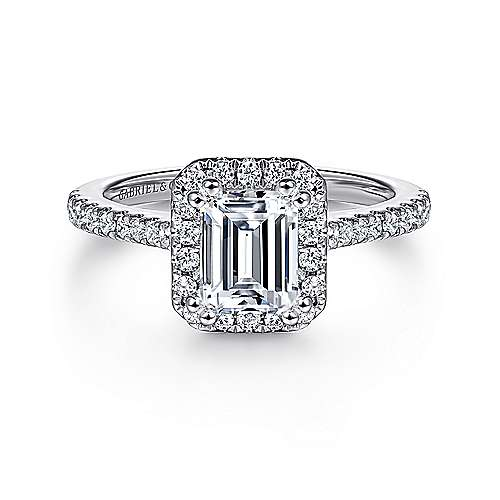 Gabriel - Courtney 14k White Gold Emerald Cut Halo Engagement Ring