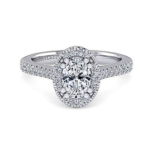 Gabriel - Courtney 14k White Gold Oval Halo Engagement Ring