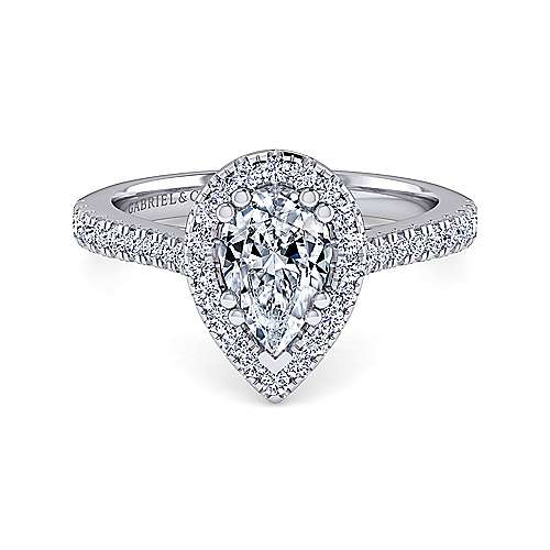 Gabriel - Courtney 14k White Gold Pear Shape Halo Engagement Ring