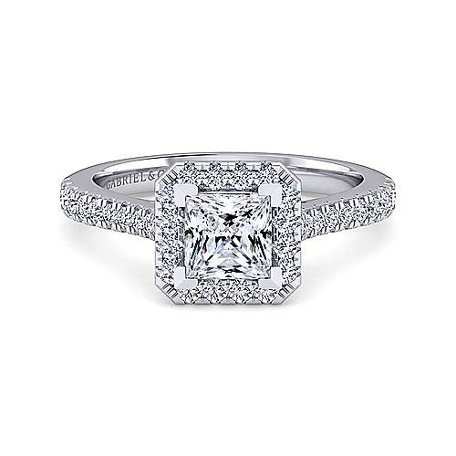 Gabriel - Courtney 14k White Gold Princess Cut Halo Engagement Ring