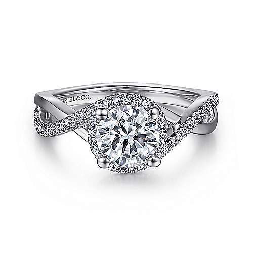 Courtney 14k White Gold Round Twisted Engagement Ring angle 1