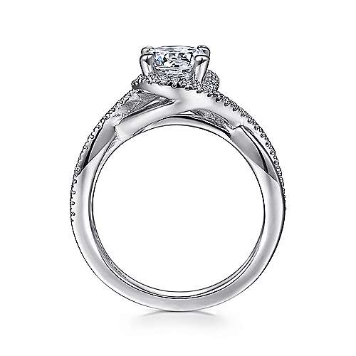 Courtney 14k White Gold Round Twisted Engagement Ring angle 2