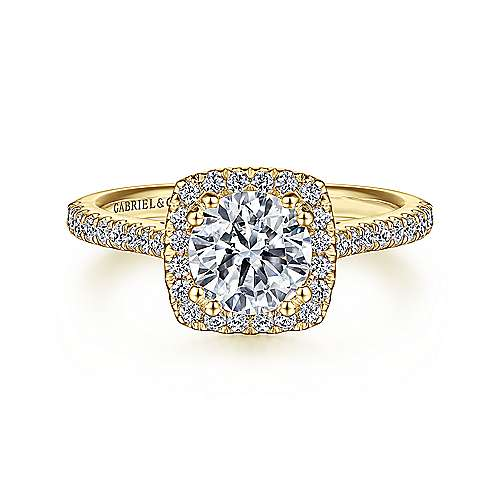Gabriel - Courtney 14k Yellow Gold Round Halo Engagement Ring