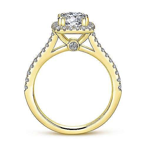 Courtney 14k Yellow Gold Round Halo Engagement Ring angle 2