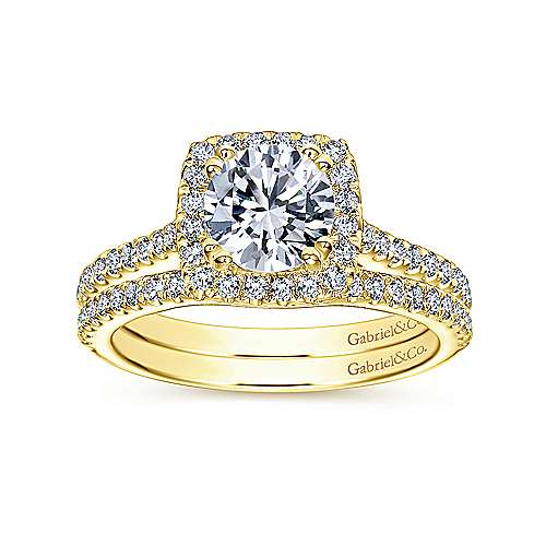 Courtney 14k Yellow Gold Round Halo Engagement Ring angle 4