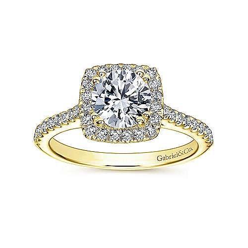 Courtney 14k Yellow Gold Round Halo Engagement Ring angle 5