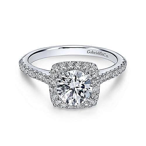 Gabriel - Courtney 18k White Gold Round Halo Engagement Ring