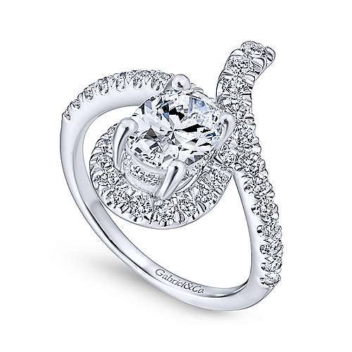 Cressida 14k White Gold Oval Halo Engagement Ring angle 3