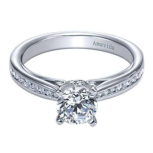 Gabriel - Crisantemo 18k White Gold Round Straight Engagement Ring