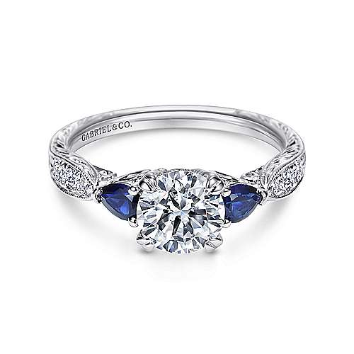 Gabriel - Cruz Platinum Round 3 Stones Engagement Ring