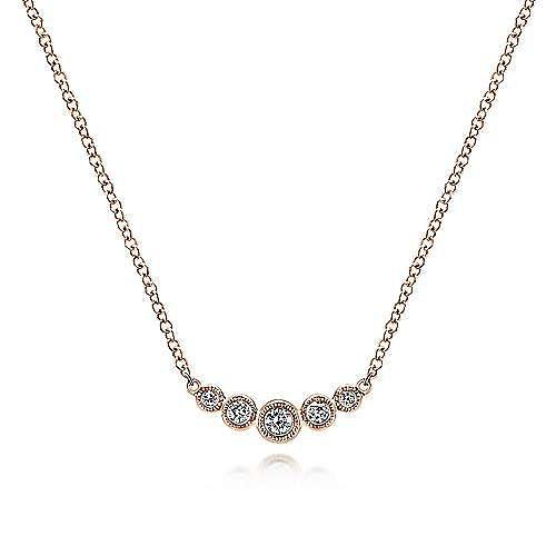 Curved 14K Rose Gold Bezel Set Diamond Bar Necklace