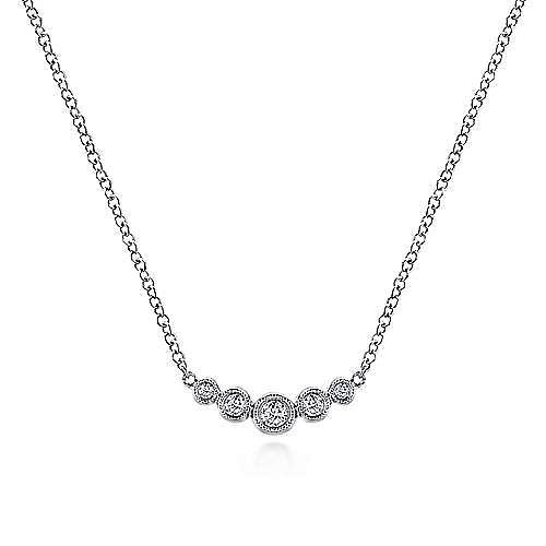 Curved 14K White Gold Bezel Set Diamond Bar Necklace