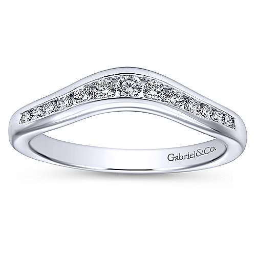 Curved 14K White Gold Channel Set Diamond Wedding Band