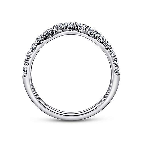 Curved 14K White Gold French Pavé Set Diamond Wedding Band