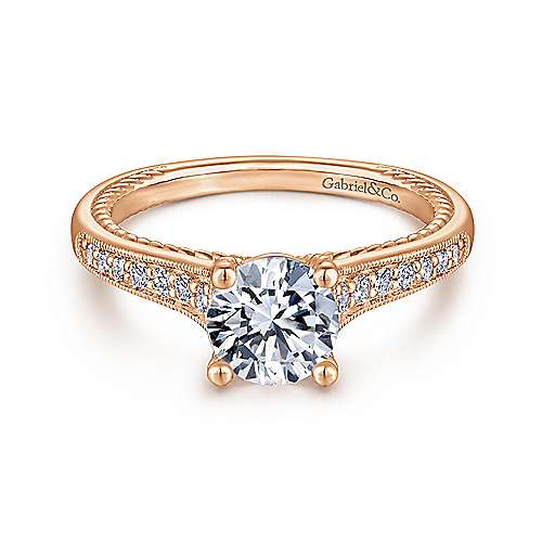 Gabriel - Cyan 14k Rose Gold Round Straight Engagement Ring