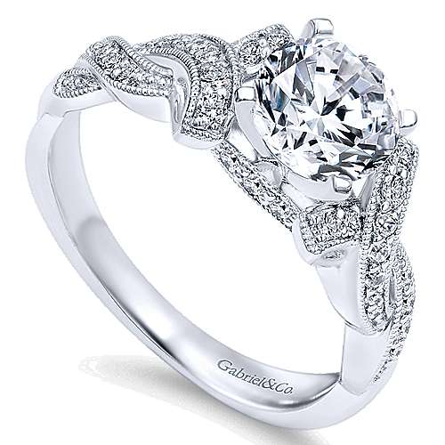 Cynthia 14k White Gold Round Twisted Engagement Ring angle 3