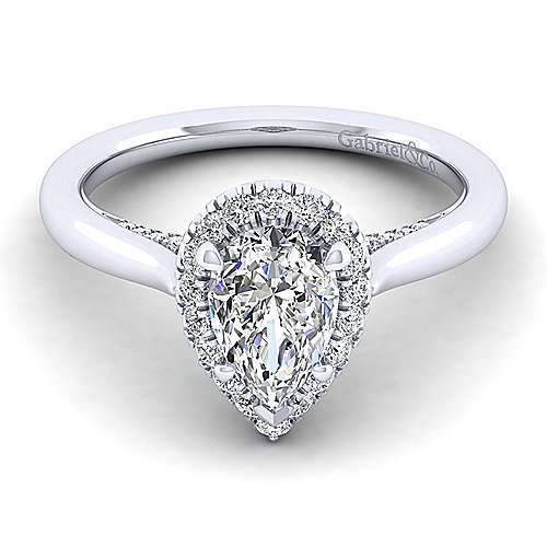 Gabriel - Cypress 14k White Gold Pear Shape Halo Engagement Ring