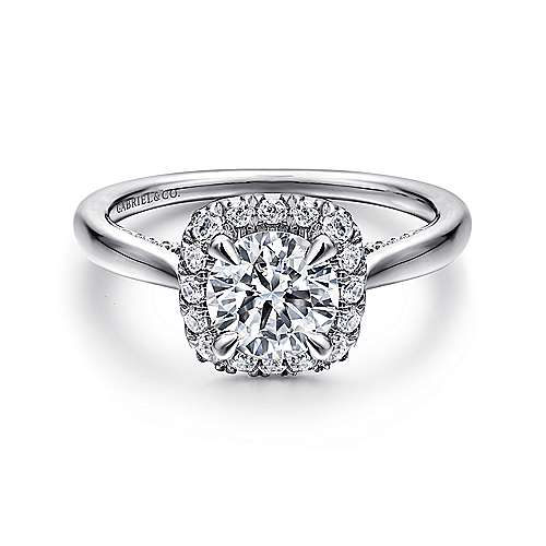 Cypress 14k White Gold Round Halo Engagement Ring angle 1