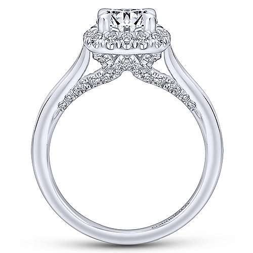 Cypress 14k White Gold Round Halo Engagement Ring angle 2