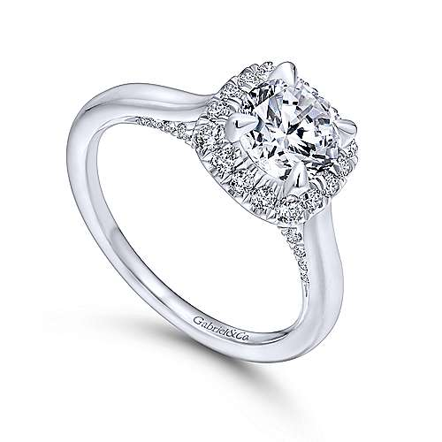 Cypress 14k White Gold Round Halo Engagement Ring angle 3