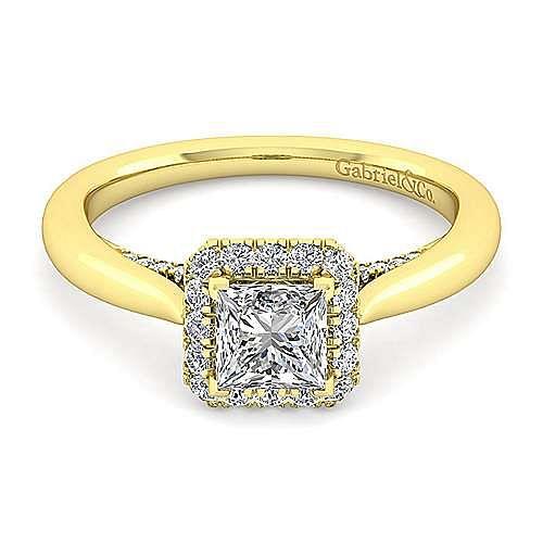 Cypress 14k Yellow Gold Princess Cut Halo Engagement Ring angle 1