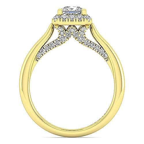 Cypress 14k Yellow Gold Princess Cut Halo Engagement Ring angle 2