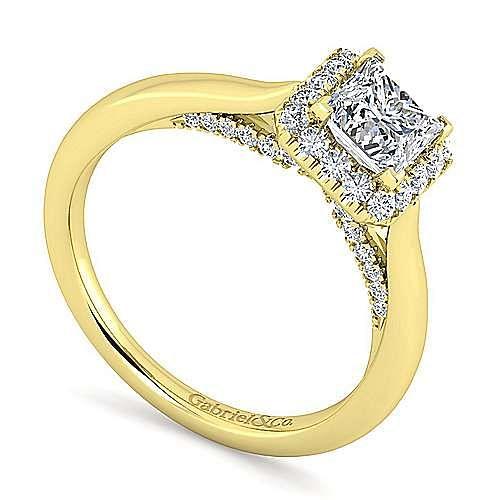 Cypress 14k Yellow Gold Princess Cut Halo Engagement Ring angle 3