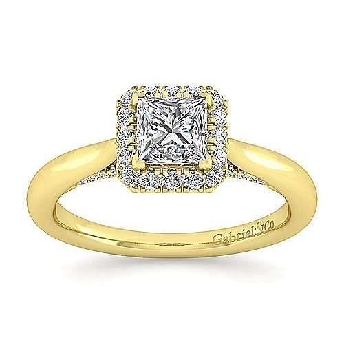 Cypress 14k Yellow Gold Princess Cut Halo Engagement Ring angle 5